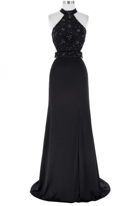 Black Floor Length Chiffon A-Line Evening Dress Featuring Lace Appliqués Beaded Embellished High Neck Halter Bodice with Cutout and Open Back Detailing