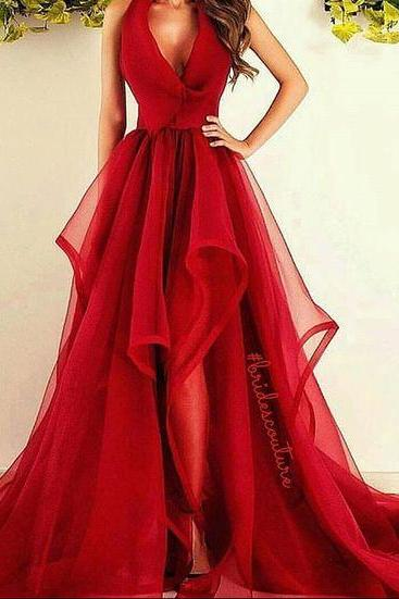 Prom Dresses,Long Prom Dresses,New Fashions Long Prom Dress Red Evening Dress Organza Prom Dresses Sexy Formal Evening Gowns