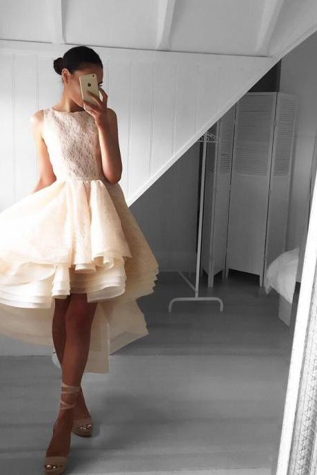 Blush Pink Prom Dresses,High Low Prom Gown,Sweetheart Prom Gowns,Simple Prom Dress,Lace Evening Dress,Elegant Formal Dress,Simple Prom Gowns