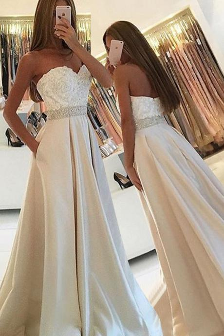 Simple Sweetheart Sleeveless Floor-Length Pockets Ivory Prom Dress with Lace Beading