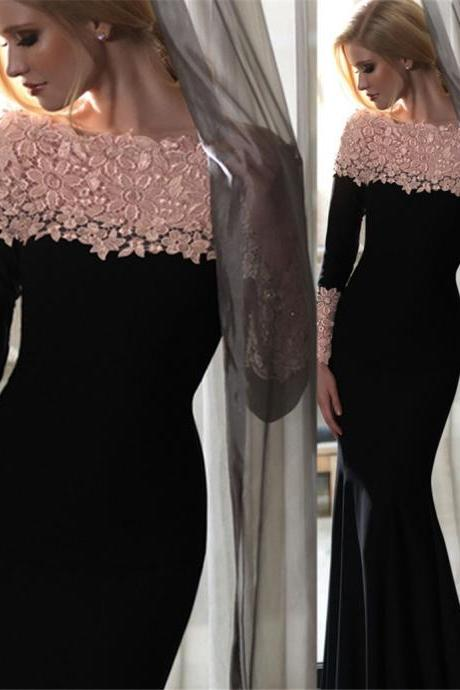 Long Mermaid Lace-Appliques Elegant Off-the-Shoulder Long-Sleeves Evening Gowns