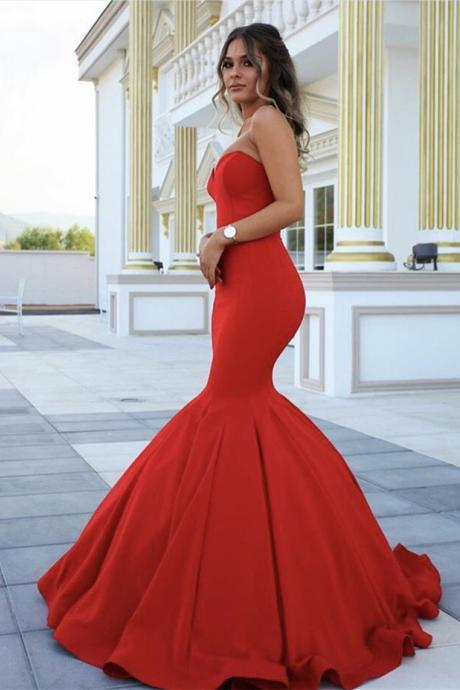 Sleeveless Mermaid Red Long Formal Dresses 2017 Sweetheart Long Sexy Prom Dress