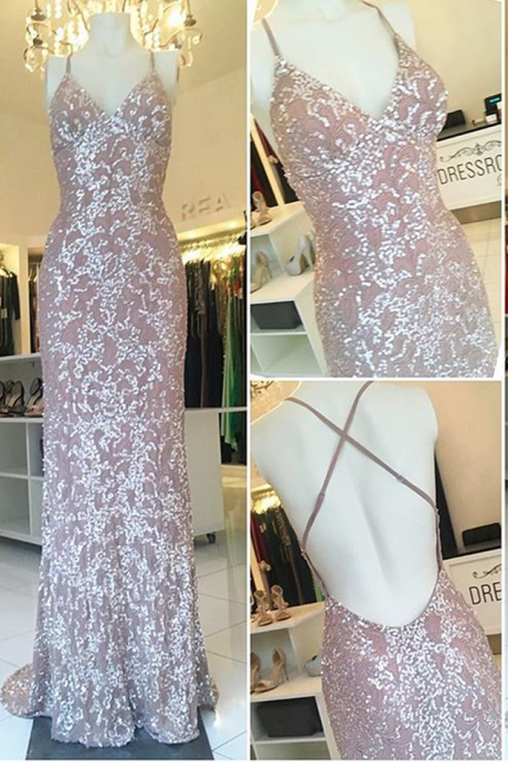 Spaghetti-Straps Sheath-Column Elegant-Luxurious Sequined Sweep-Train Evening Dress