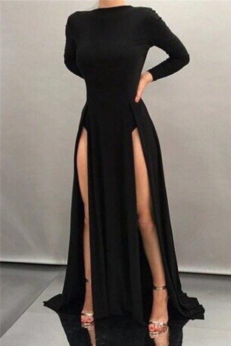 Black Long Sheath High Neck Formal Dress Long Sleeve Sexy Front Splits Evening Gowns