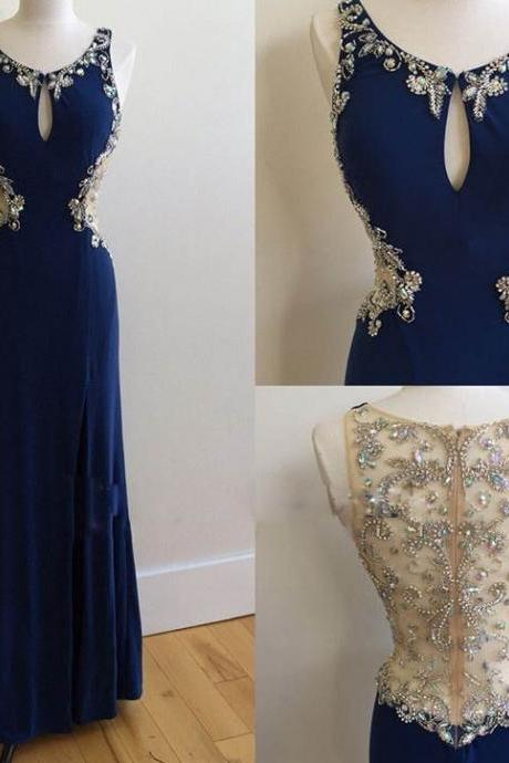 Long Dark Blue Chiffon Beaded Crystals Prom Dresses See Through Back Mermaid Formal Gowns Sexy Party Evening Dresses