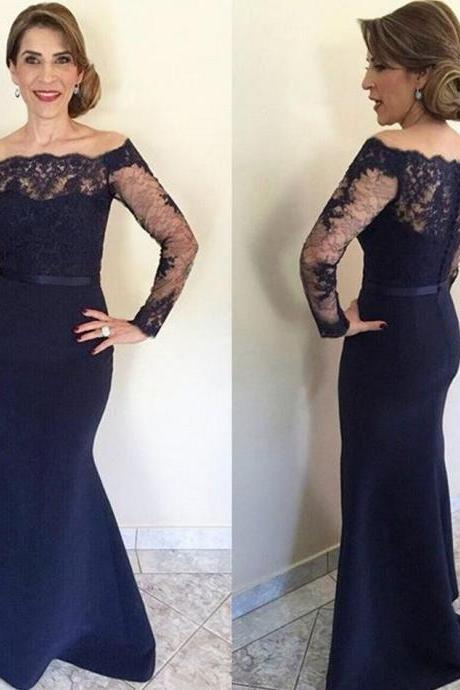 Navy Blue Lace Long Mother Of The Bride Dresses 2016, Long Sleeve Formal Mother Of The Groom Dresses,Long Mermaid Formal Gowns,Sexy Evening Dresses for Women,Long Prom Dresses