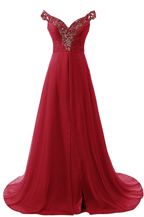 Long Prom Dress Beadings Chiffon Bridal Evening Gowns evening dresses