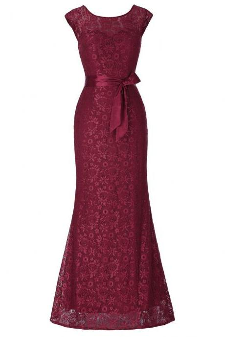 Mermaid Evening Dresses with Belt Long Mother of the Bride Dress Black Wine Red Lace Dresses for Wedding