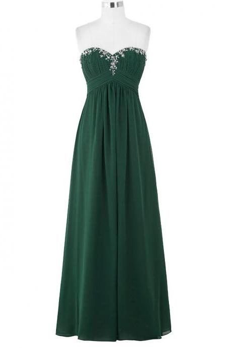 Forest Green Beaded Embellished Ruched Sweetheart Floor Length A-Line Formal Dress, Prom Dress
