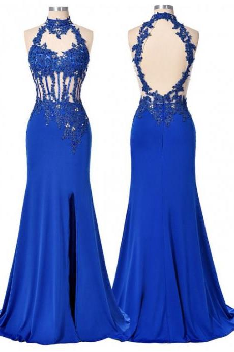 Stunning Royal Blue High Neck Keyhole Open Back Long Sheath Prom Dress with Appliques Beading