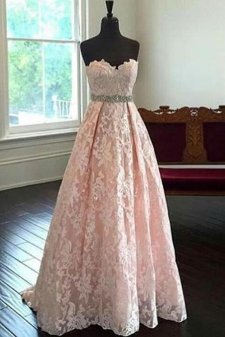 Prom Dress,blush pink prom dress,long Prom Dress,lace prom dress,sweetheart evening dress,evening gown,Wedding Guest Prom Gowns, Formal Occasion Dresses,Formal Dress