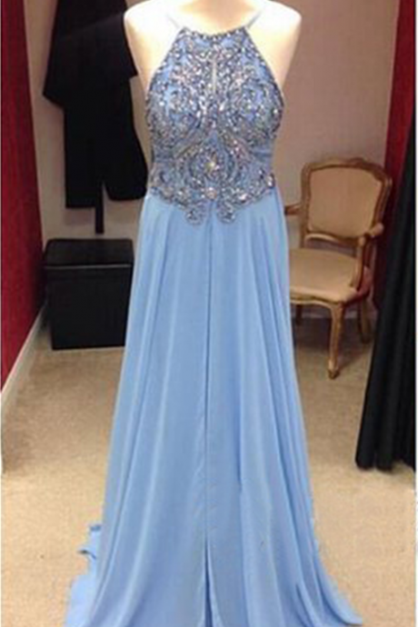 long prom dress, blue prom dress, cheap prom dress, prom dress with beading, prom dress 2017, long evening dress, party prom dress,