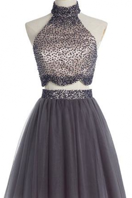 Short Homecoming Dress,Two Pieces Graduation Dress,Gray Homecoming Dress, High Neck Graduation Dresses,Graduation Dress , Homecoming Dress ,Prom Dress for Teens