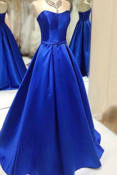 Navy blue satins sweetheart A-line long dresses,simple prom dresses for graduation
