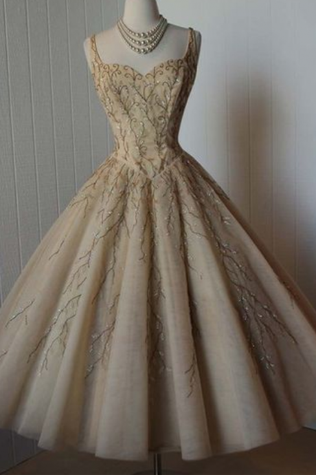 Vintage Prom Dress, Grey Prom Dress, Beading Crystals Homecoming Dress, Tulle Homecoming Gown