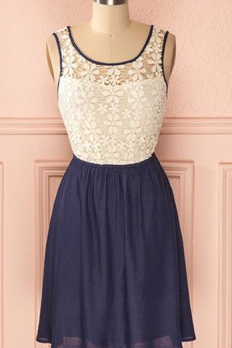 Prom Dress, Navy Blue Prom Gowns, Mini Short Homecoming Dress, Lace Homecoming Gowns