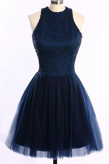 Beads Halter A-line Tulle Mini Prom Homecoming Graduation Party Dress