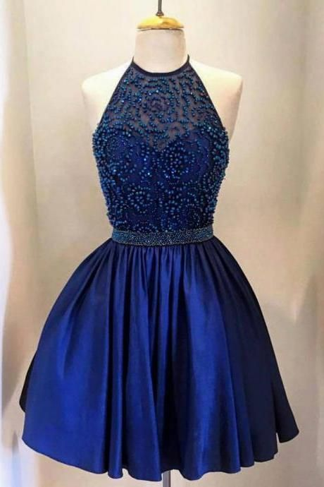 Short Royal Blue Satin Homecoming Prom Party Dresses