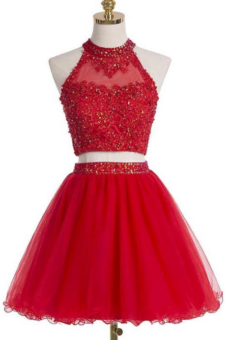 Short Mini Homecoming Dress,Two Piece Homecoming Dress,Red Tulle Prom Dress,Sequins Beads Homecoming dress