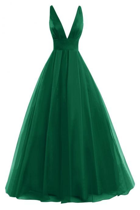 Deep V Neck Prom Dress, Formal Evening Gowns, Green Prom Dress, Sexy Back Prom Dress, Simple Prom Dress, Cheap Prom Dress, Woman Dresses