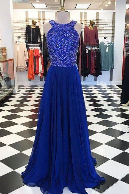 Royal Blue Round Neck Long Prom Dress, Dress for Prom, Senior Prom Dress, Prom Dress for Teens, Blue Evening Dress