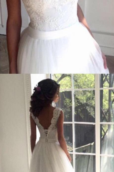 Lace Crew Neck Sleeveless Floor Length Tulle Wedding Gown Featuring Lace-Up Plunge V Back
