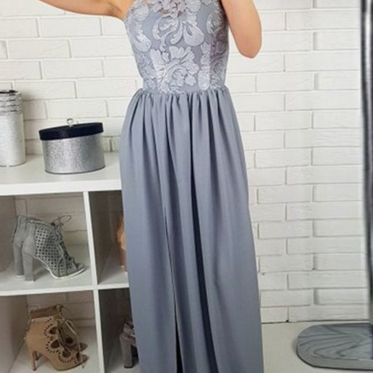 Round Neck Split Front Floor-Length Grey Satin Prom Dress with Lace , Evening Dress