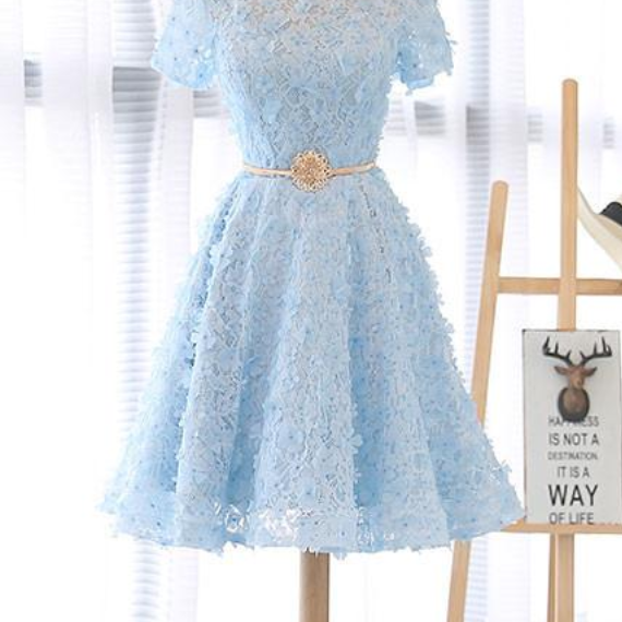 Light Blue Floral Lace Crew Neck Short Sleeves Short Ruffled Homecoming Dress