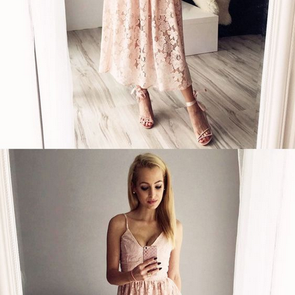 A-Line Spaghetti Straps Tea-Length Pink Lace Homecoming Dress