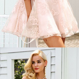 A-Line Off-the-Shoulder Sleeveless Short Pink Lace Homecoming Dress