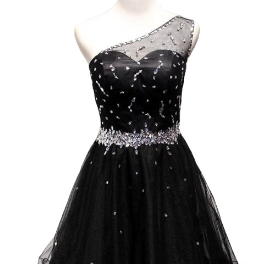 A lines Black Homecoming Dresses Sheer Back Sleeveless Beaded One shoulder Above Knee Homecoming Dress
