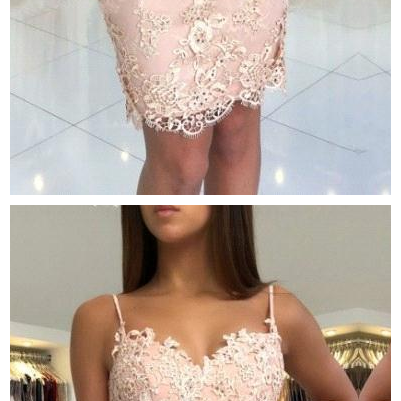 Lace Sheath Short Homecoming Dresses Spaghetti Straps Beaded Applique Knee Length Short Party Cocktail Prom Dresses