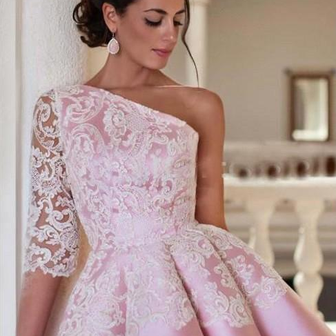 Elegant Pink One Shoulder Satin A Line Homecoming Dresses Lace Applique Short Party Prom Evening Dresses