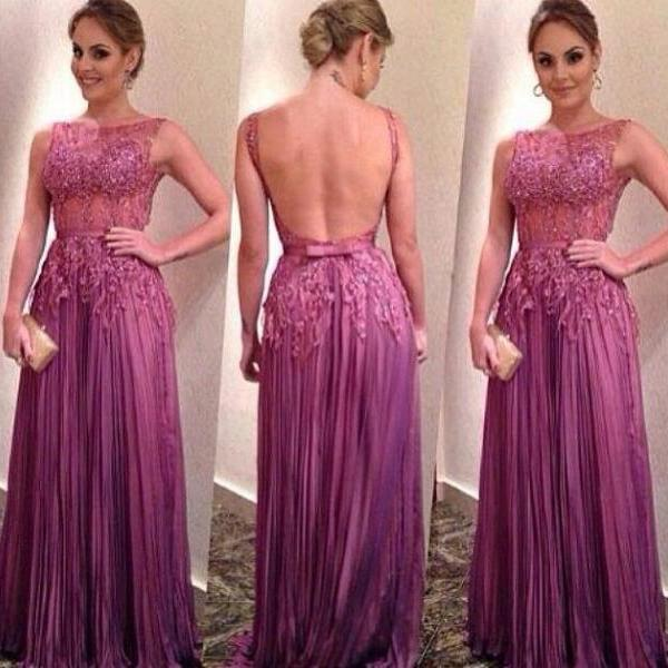 New Design Backless Long Prom Dresses 2015 Scoop Neck A-Line Appliques Beaded Pleated Chiffon Vestido De Festa Party Dress Formal Dresses