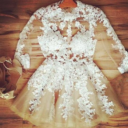 Cute Lace Applique Champagne Short Prom Dresses 2015, Homecoming Dresses 2015, Graduation Dresses, Short Prom Gown 2015