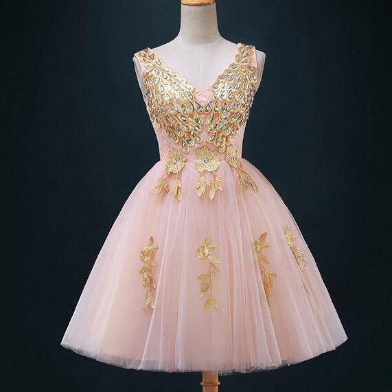Pretty Handmade Applique Tulle Short Prom Dresses Short Prom Dresses 2015 Homecoming Dresses 2015 Graduation Dresses