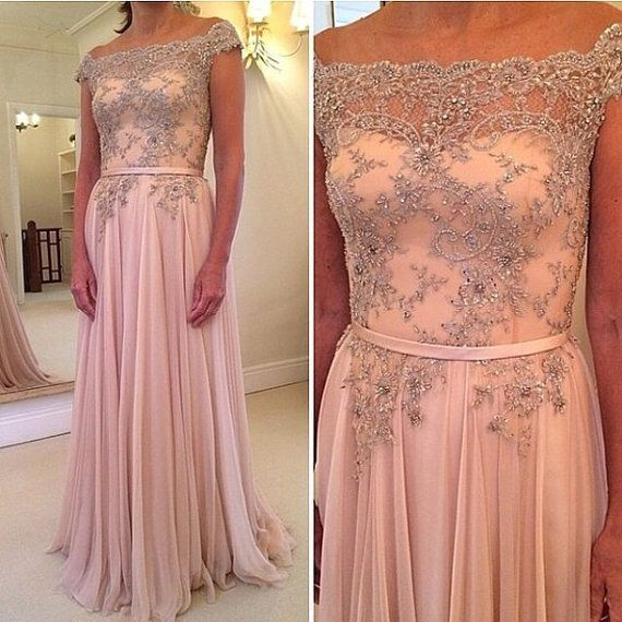 PINK Prom Dress Beading Dress A-Line Prom Dress Chiffon Prom Dress Fashion Prom Dress