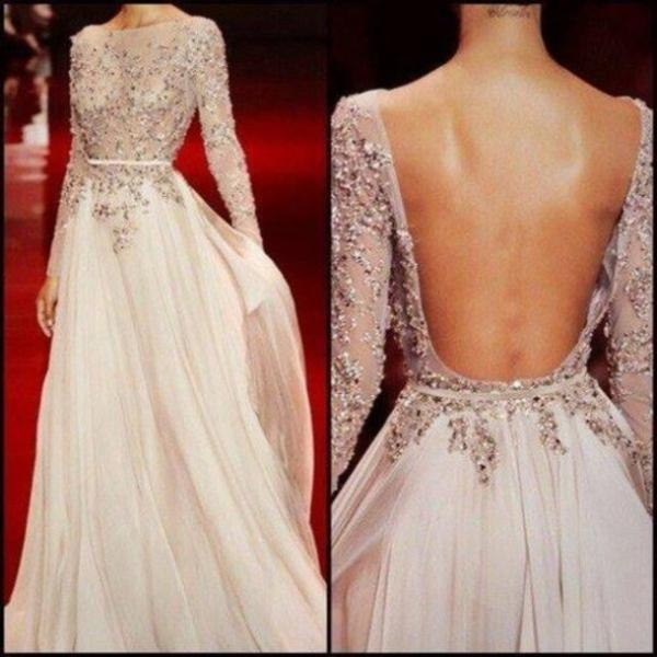 Applique Prom Dress Beading Dress A-Line Prom Dress Chiffon Prom Dress Long Sleeve Prom Dress Open back EVENING DRESSES