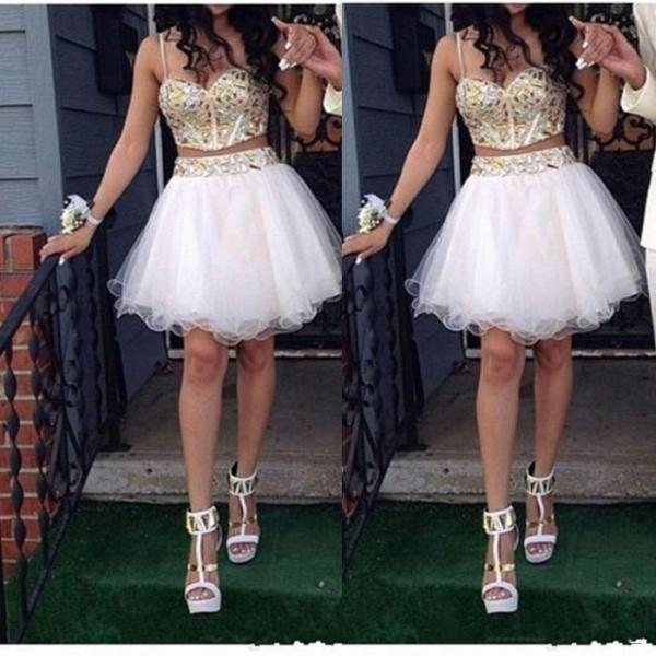 Bling Beaded Sweetheart Neckline Short Homecoming Dresses 2015 Sexy Spaghetti Straps Crystals Mini Party Prom Gowns Tulle Skirt