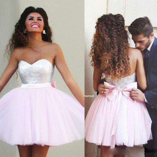 Cheap Free Shipping 2017 Short Pink Homecoming Dresses Sequined Sweetheart Cute Bow Sash Backless MiNi Prom Party Dresses