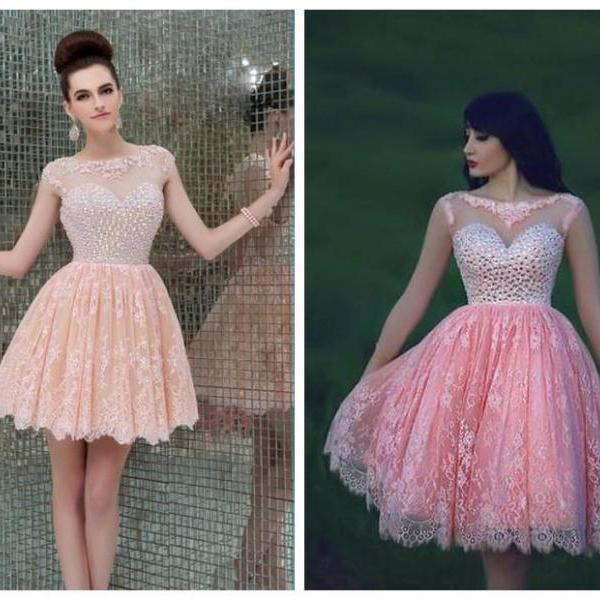 New 2017 Short Charming Pink Lace Homecoming Dresses With Applique Beaded Jewel Neck Vestidos Fashionable Graduation Gowns with Cut Out Back