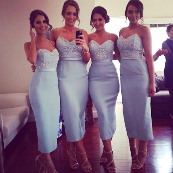 Light Blue Satin Mermaid Bridesmaid Dress Cheap Bridesmaid Dresses Lace Bridesmaid Dress Custom Made Bridesmaid Dresses