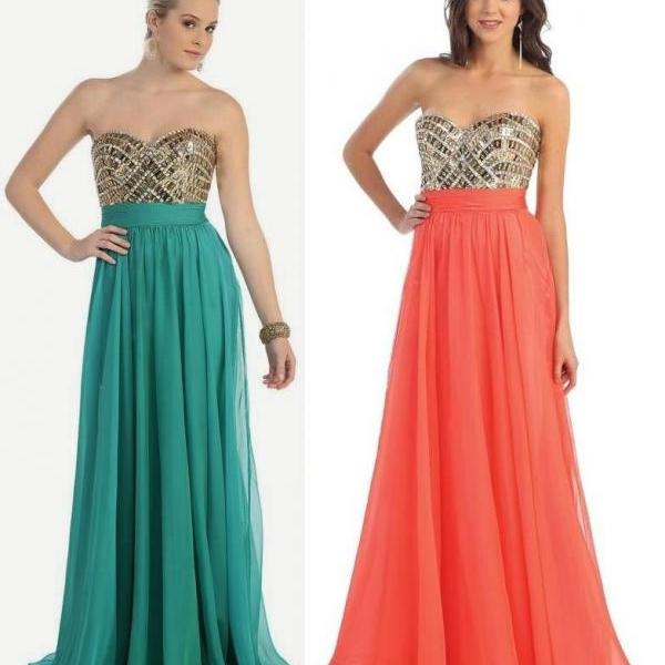 New Arrival Fashion Prom Dresses Glitter Rhinestones Beaded And Pleated A-Line Sweetheart Neck Floor Length Chiffon Evening Gowns