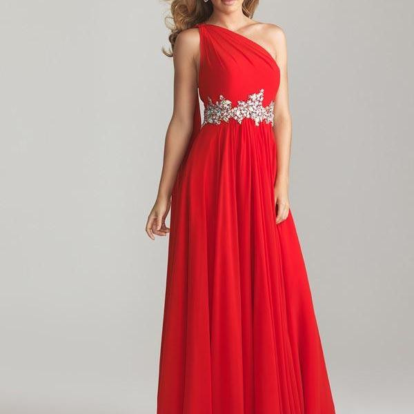 Red Evening Dresses Long Evening Dress With Beading Evening Party Gowns Sleeveless Prom Dresses Chiffon Prom gowns