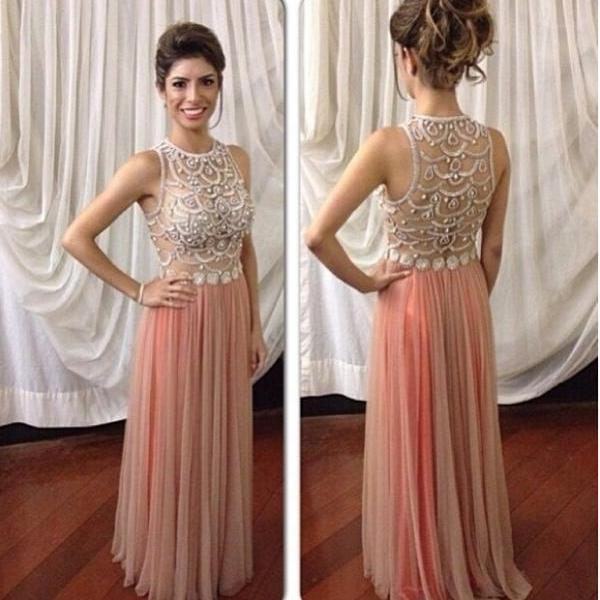 Custom Made A Line Chiffon Long Sleeve Backless Prom Dress With ...