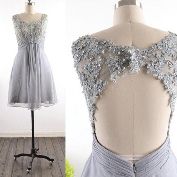 Homecoming Dress,Modest Silver Gray Homecoming Gown,Grey Tulle Homecoming Gowns With Open Back Sequins Party Dress,Backless Sweet 16 Dresses,Short Cocktail Dress,Formal Gowns for Summer