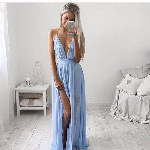 Light Blue Plunging V-Neckline Chiffon Evening Dress with High Split