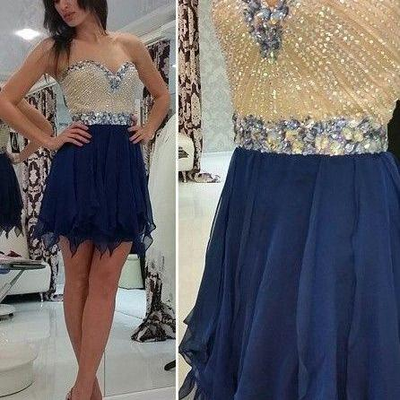 Royal Blue Homecoming Dress,Short Prom Dresses,Homecoming Gowns,Fitted Party Dress,Beading Prom Dresses,Sparkly Cocktail Dress,Homecoming Gown
