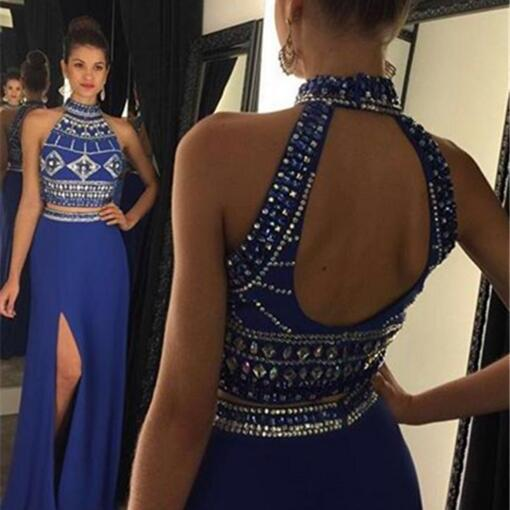 2 pieces Prom Dresses,2 piece Evening Gowns,Simple Formal Dresses,Prom Dresses,Teens Fashion Evening Gown,Beadings Evening Dress,Party Dress,Prom Gowns