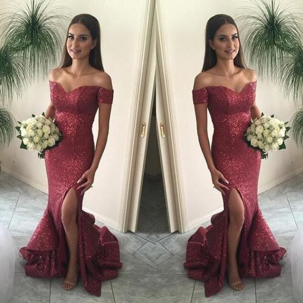 Burgundy Prom Dresses Sequin Evening Dress Sequined Gowns Mermaid Gown Beautiful Formal G On Luulla